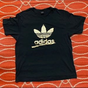 Adidas Mens Graphic Tee TShirt Black Gold Big Logo